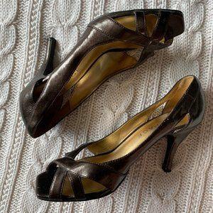 Brown Metallic Shiny Open Toe Heels